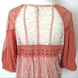 NEW Gimmicks By BKE  Lace Embroidered Coral Top